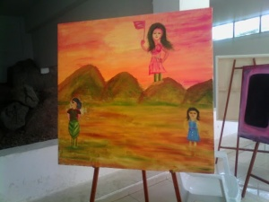 Acrylic painting in Art camp on Women's day at state art gallery